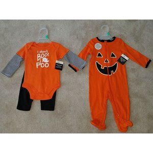 NWT 2 Halloween Baby Sleeper Outfit Lot 6-9m